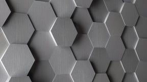 fondo di alluminio esagonale delle mattonelle 3D Fotografia Stock