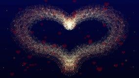 Fondo di amore con cuore rosso per il San Valentino Backgrop blu profondo azione animazione 4K illustrazione vettoriale