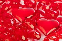 Fondo di amore fatto dei cuori decorativi Fotografia Stock