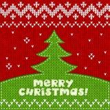 Fondo di applique tricottato verde dell'albero di Natale Fotografie Stock Libere da Diritti