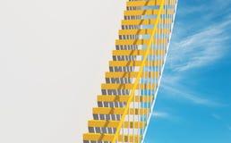 fondo di architettura 3d, scale del metallo giallo Fotografia Stock