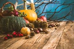 Fondo di autunno con frutta Fotografie Stock