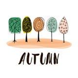 Fondo di autunno con gli alberi disegnati a mano per la vostra progettazione Illustrazione di vettore Fotografia Stock