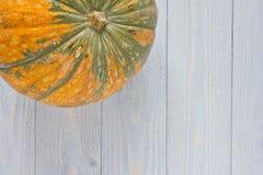 Fondo di autunno con la zucca sulle plance di legno blu Immagini Stock Libere da Diritti