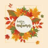Fondo di autunno con le foglie cadenti rosse Immagini Stock
