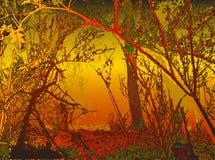 Fondo di autunno con le siluette degli alberi Fotografia Stock