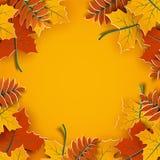 Fondo di autunno, foglie della carta dell'albero, contesto giallo, progettazione per l'insegna di vendita di stagione di autunno, illustrazione vettoriale