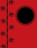 Fondo di bambù cinese rosso Fotografia Stock
