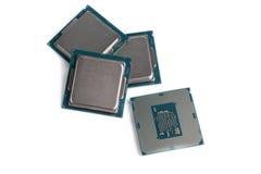 Fondo di bianco dei chip di unità di elaborazione del computer Fotografia Stock