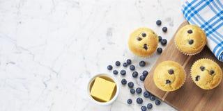 Fondo di bianco dei muffin ai mirtilli Fotografie Stock