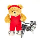 Fondo di bianco del giocatore di Teddy Bear Basketball Immagini Stock Libere da Diritti