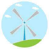 Fondo di bianco dell'erba verde del cielo blu dell'illustrazione del mulino a vento Fotografia Stock Libera da Diritti
