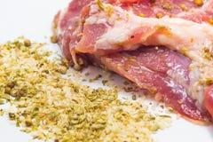 Fondo di bianco della carne di maiale Immagini Stock Libere da Diritti