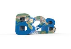 Fondo di bianco della mappa di mondo di struttura del segno 3d di B2B Fotografia Stock Libera da Diritti