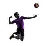 Fondo di bianco della siluetta dell'uomo del giocatore della palla di pallavolo Fotografie Stock Libere da Diritti