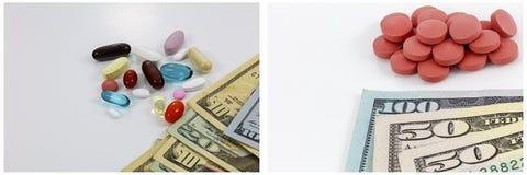 Fondo di bianco delle pillole dei contanti dei soldi di droghe Fotografia Stock