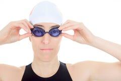 Fondo di bianco dello studio del nuotatore della donna Fotografia Stock