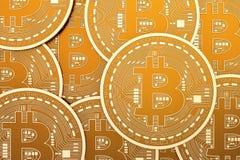 Fondo di Bitcoins, rappresentazione 3D Fotografia Stock