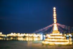 Fondo di Blured della pagoda della sabbia della costruzione e bokeh del fondo del ponte Fotografie Stock Libere da Diritti