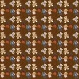 Fondo di Brown con cinque giocattoli, orsi, lepre ed agnelli della peluche illustrazione vettoriale