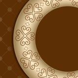 Fondo di Brown con l'ornamento sulla pendenza dell'oro Illustrazione di Stock