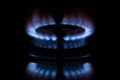 Fondo di buio della fiamma del gas Immagine Stock