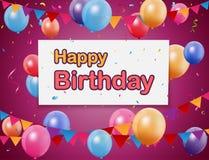 Fondo di buon compleanno con gli stendardi, i palloni variopinti ed i coriandoli illustrazione vettoriale