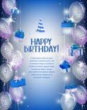 Fondo di buon compleanno con i coriandoli, il contenitore di regalo e gli aerostati brillanti Immagine Stock