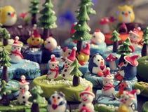 Fondo di Buon Natale con l'ornamento di natale da argilla Immagini Stock Libere da Diritti
