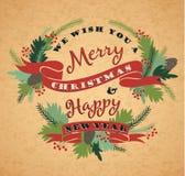 Fondo di Buon Natale con tipografia Fotografie Stock Libere da Diritti