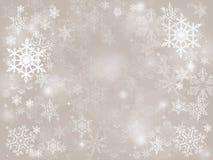 Fondo di caduta di festa di natale di inverno della neve astratta d'argento del bokeh immagini stock