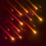 Fondo di caduta rosso di vettore delle meteore illustrazione di stock
