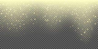 Fondo di caduta di vettore della neve delle precipitazioni nevose scintillanti dorate e dei fiocchi di neve brillanti Scintillio  Fotografia Stock