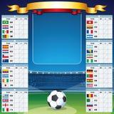 Fondo di calcio con la Tabella della coppa del Mondo. Insieme di vettore Fotografie Stock