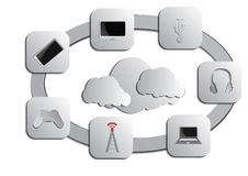 Fondo di calcolo della nuvola e del computer Immagini Stock