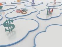 Fondo di calcolo di concetto della nuvola di Cloudscape con i simboli Immagine Stock