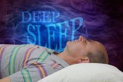 Fondo di campagna di informazione di sonno profondo fotografia stock