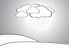 Fondo di carta di stile della pioggia e della nuvola illustrazione di stock