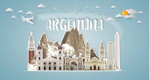 Fondo di carta globale di viaggio e di viaggio del punto di riferimento dell'Argentina V royalty illustrazione gratis