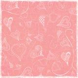 Fondo di carta piegato indossato rosa funky semplice di scarabocchi dei cuori di artistico Fotografia Stock