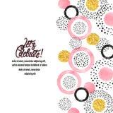Fondo di celebrazione con i cerchi rosa, dorati e neri illustrazione di stock