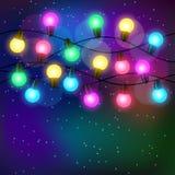 Fondo di celebrazione con la ghirlanda delle lampadine Fotografia Stock Libera da Diritti