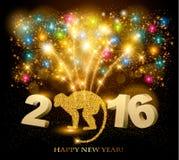Fondo di celebrazione con un bello oro 2016 illustrazione vettoriale