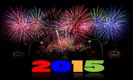 Fondo 2015 di celebrazione del fuoco d'artificio del nuovo anno Fotografie Stock