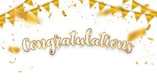 Fondo di celebrazione dell'oro di congratulazioni con i coriandoli illustrazione vettoriale