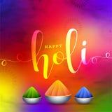 Fondo di celebrazione di festival di Holi con le ciotole piene dei colori della polvere su fondo colourful lucido Può essere usat illustrazione vettoriale