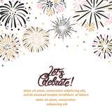 Fondo di celebrazione di vettore con i fuochi d'artificio astratti royalty illustrazione gratis