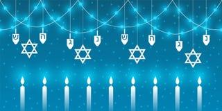 Fondo di Chanukah con gli elementi tradizionali della festa ebrea di Chanukah illustrazione vettoriale