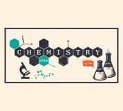 Fondo di chimica, iscrizione di chimica Illustrazione di vettore Immagini Stock