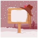 Fondo di Christmas del cowboy con il bordo di legno per testo Fotografia Stock